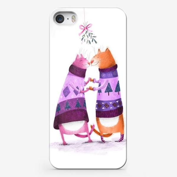 Чехол iPhone «Котики и омела»