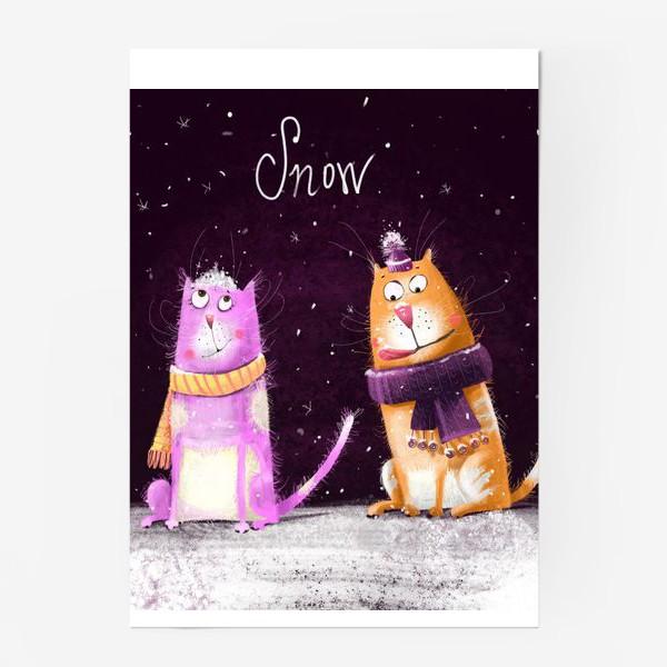 Постер «Котики и первый снег»