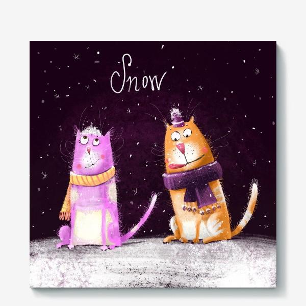Холст «Котики и первый снег»