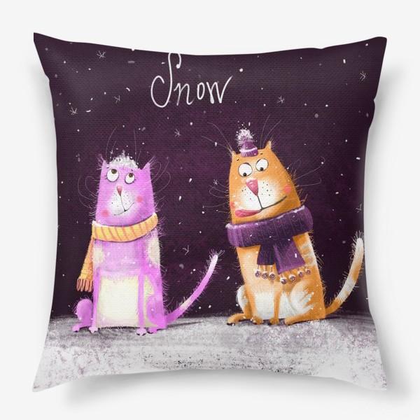 Подушка «Котики и первый снег»
