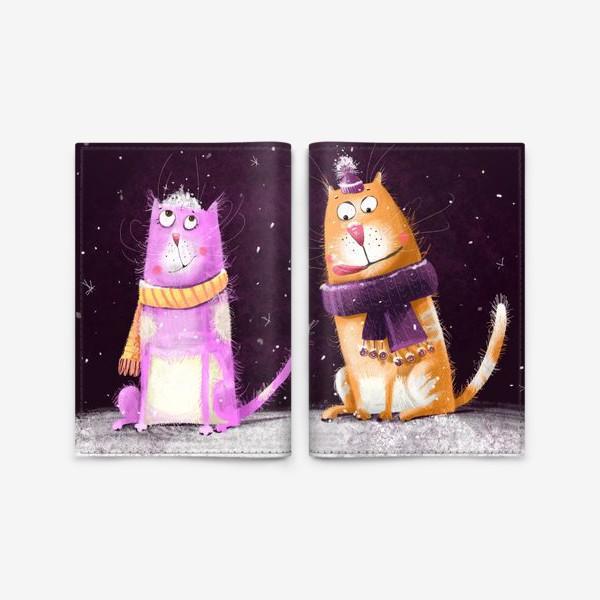 Обложка для паспорта «Котики и первый снег»