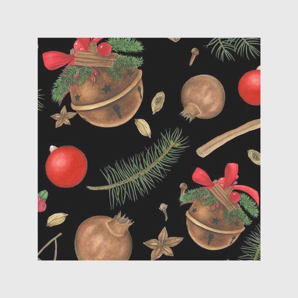 Скатерть «Новогодние украшения на черном фоне»