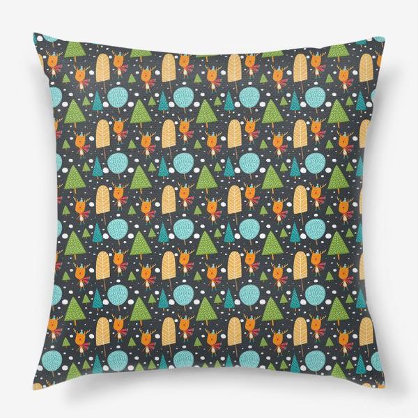Подушка «Паттерн Лесной олень»