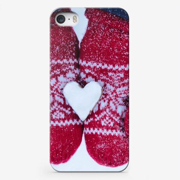 Чехол iPhone «Красивые яркие красные варежки с печенькой»