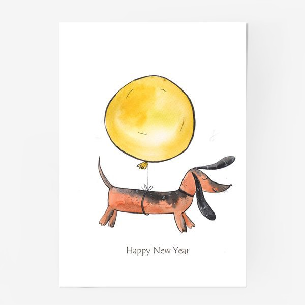 Постер «Такса с шариком»