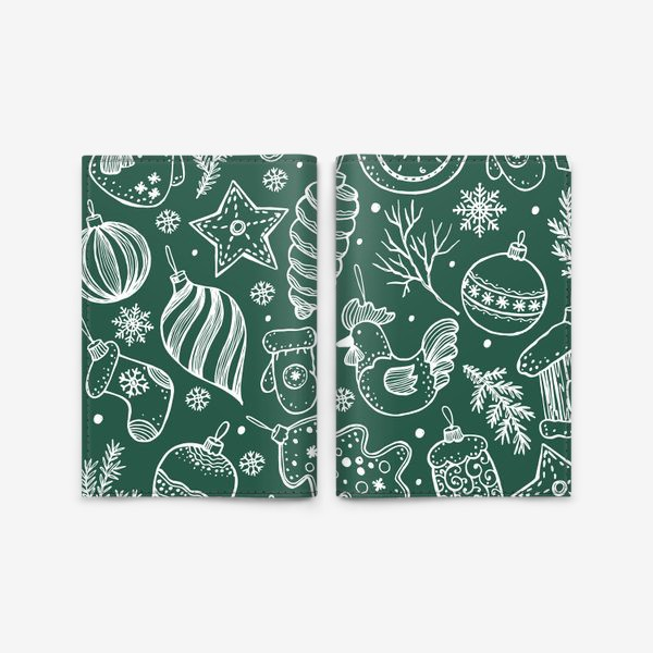 Обложка для паспорта «Зимний паттерн на зеленом»