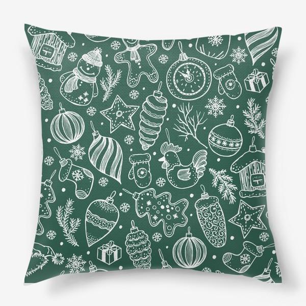 Подушка «Зимний паттерн на зеленом»