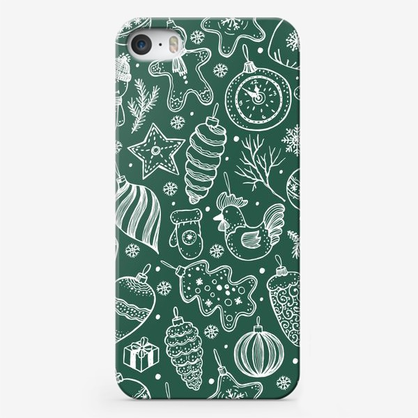 Чехол iPhone «Зимний паттерн на зеленом»