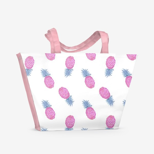 Пляжная сумка «Pink Pineapple Watercolor Pattern»