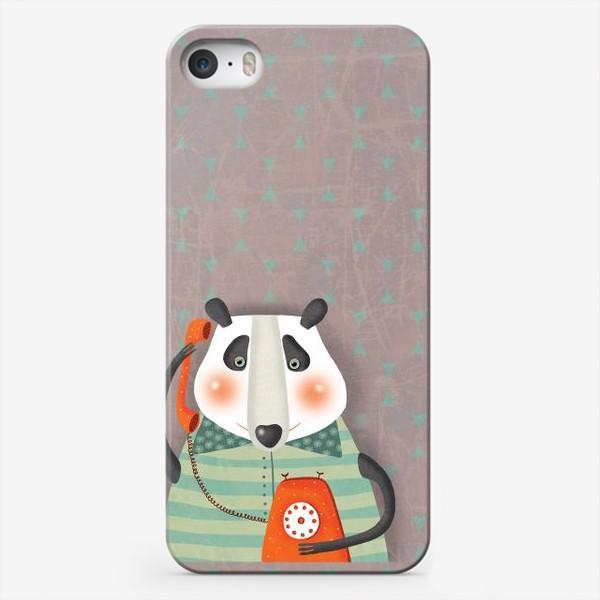 Чехол iPhone «Панда с телефоном»