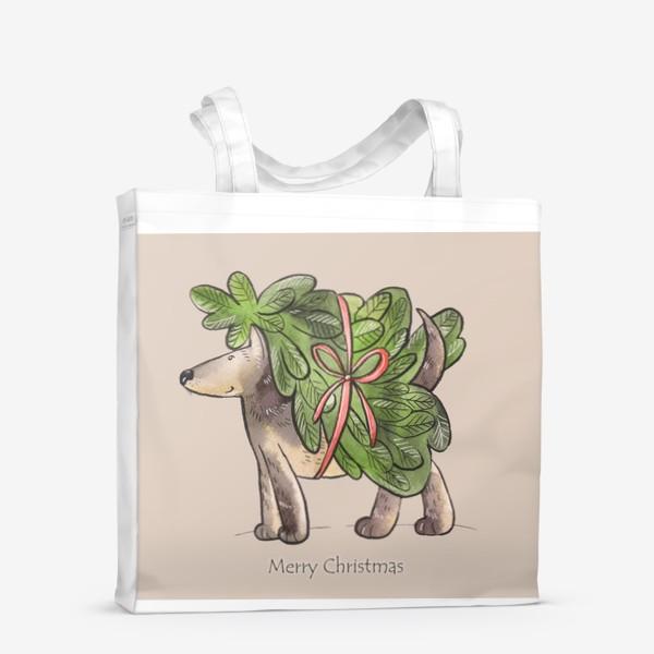 Сумка-шоппер «Пес с елкой»