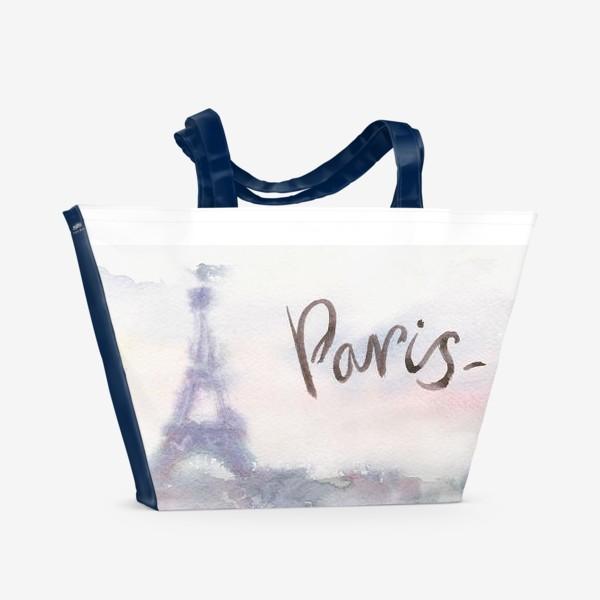 Пляжная сумка «Кофе с круассаном в Париже»