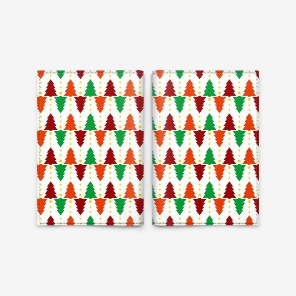 Обложка для паспорта «Паттерн Рождественские ёлки»