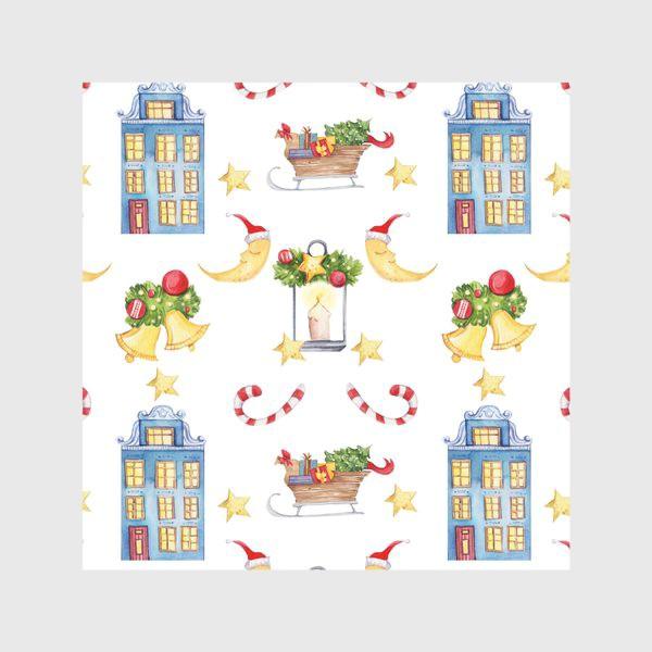 Скатерть «Рождественский принт с домиком и колокольчиками»