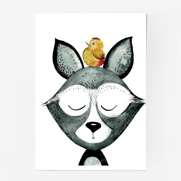 Постер «Енот с птицей»