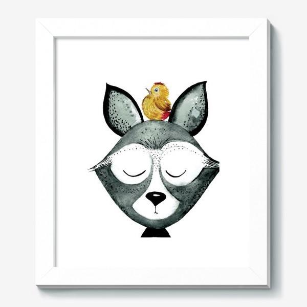 Картина «Енот с птицей»