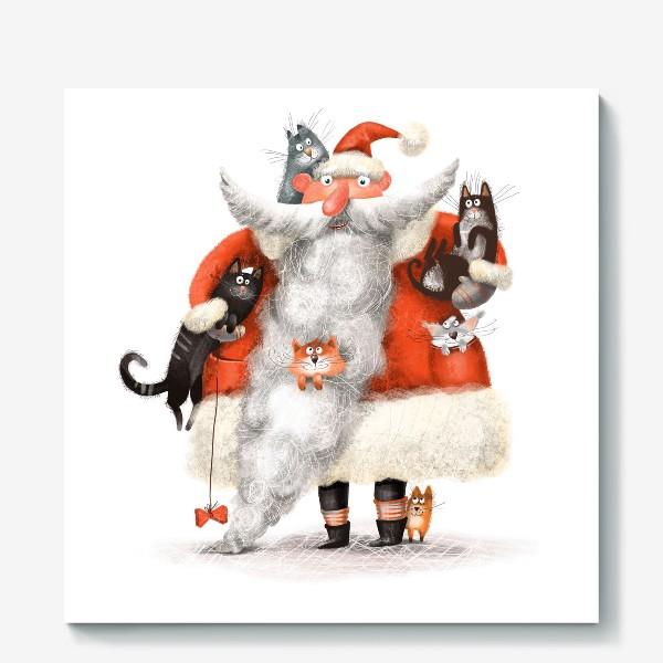 Холст «Санта Клаус и котики»