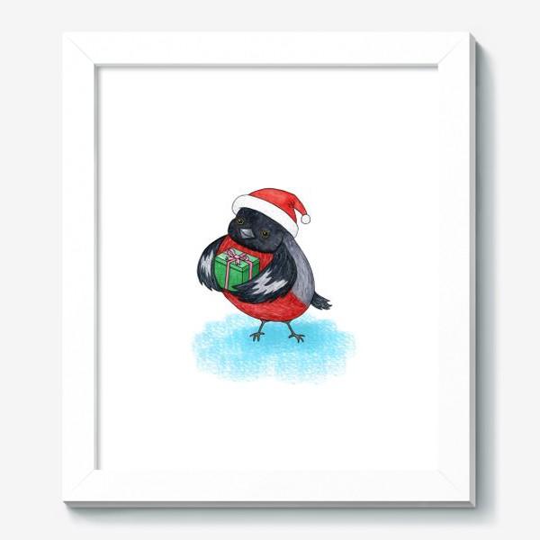 Картина «Снегирь с подарком»
