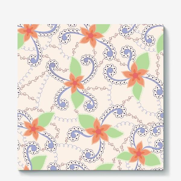 Холст «Абстрактные винтажные цветы»