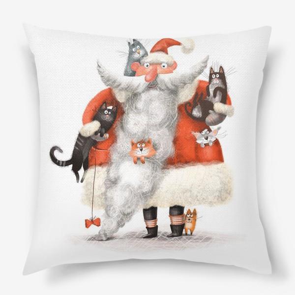Подушка «Санта Клаус и котики»