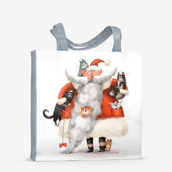 Сумка-шоппер «Санта Клаус и котики»