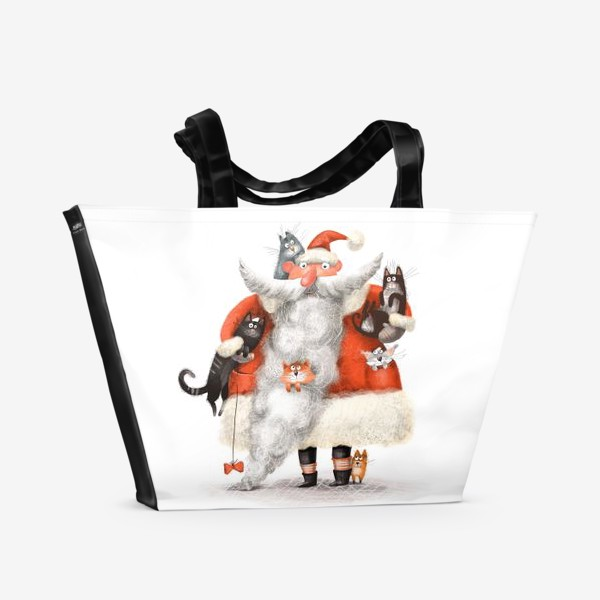 Пляжная сумка «Санта Клаус и котики»