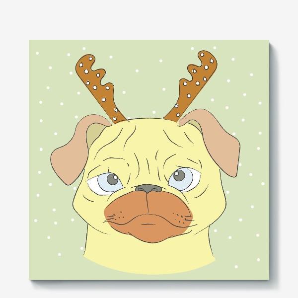 Холст «Рождественский мопс»