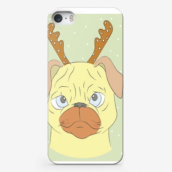 Чехол iPhone «Рождественский мопс»