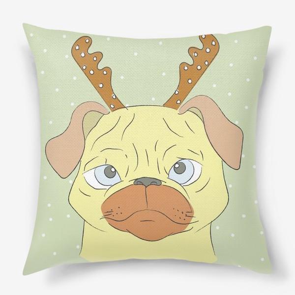 Подушка «Рождественский мопс»