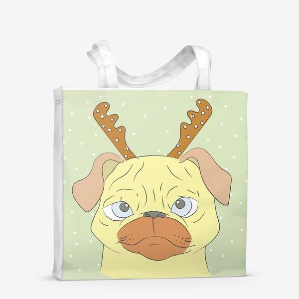 Сумка-шоппер «Рождественский мопс»
