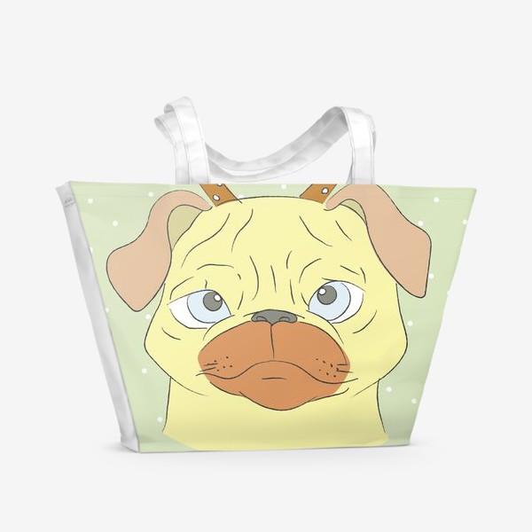 Пляжная сумка «Рождественский мопс»