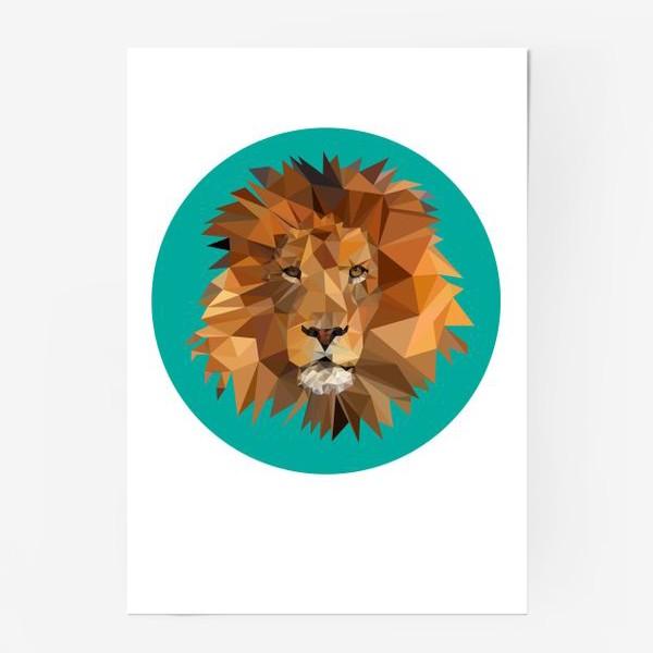 Постер «Полигональный лев»