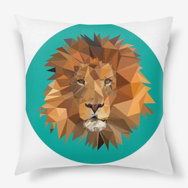 Подушка «Полигональный лев»
