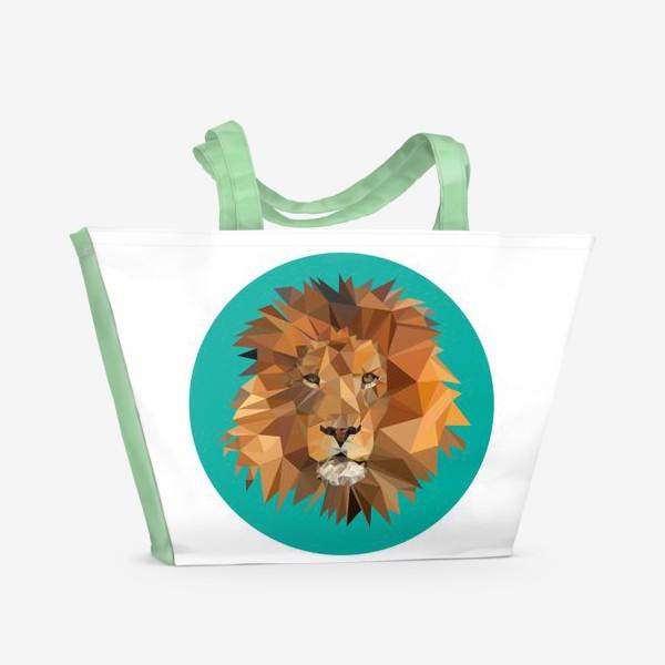 Пляжная сумка «Полигональный лев»
