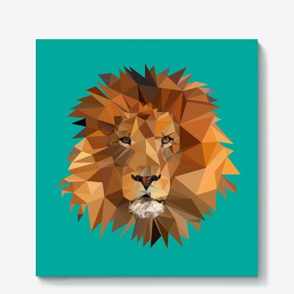 Холст «Полигональный лев»