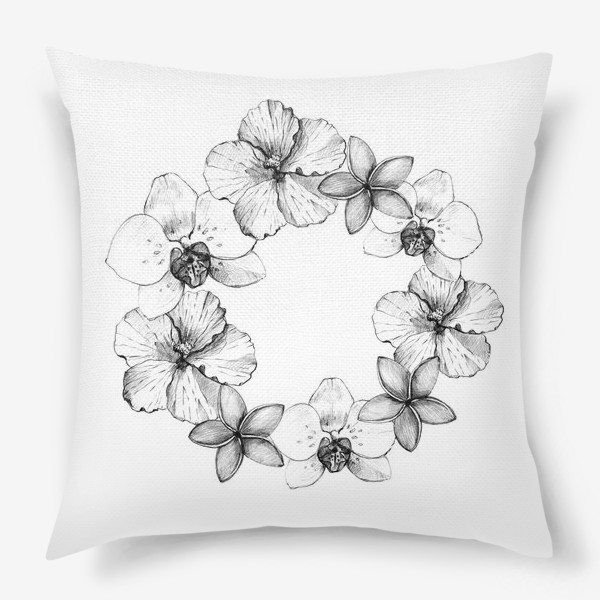 Подушка «Венок из тропических цветов. Графика»