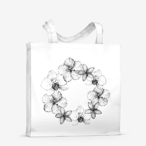 Сумка-шоппер «Венок из тропических цветов. Графика»