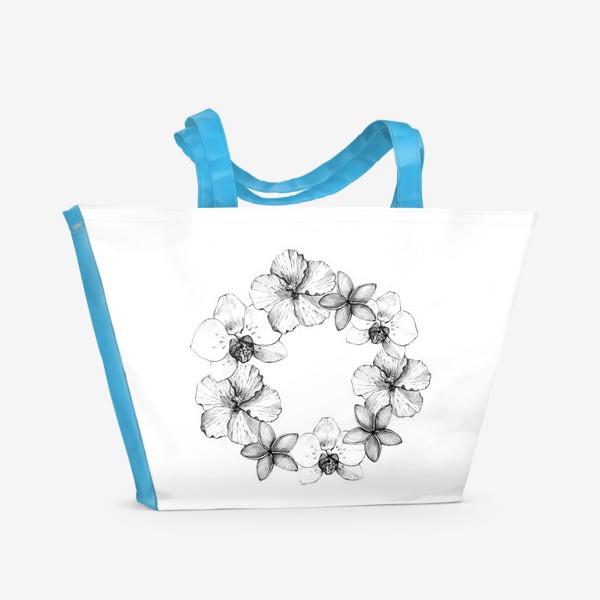 Пляжная сумка «Венок из тропических цветов. Графика»