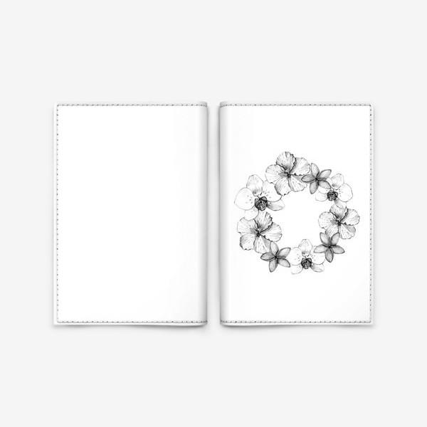 Обложка для паспорта «Венок из тропических цветов. Графика»