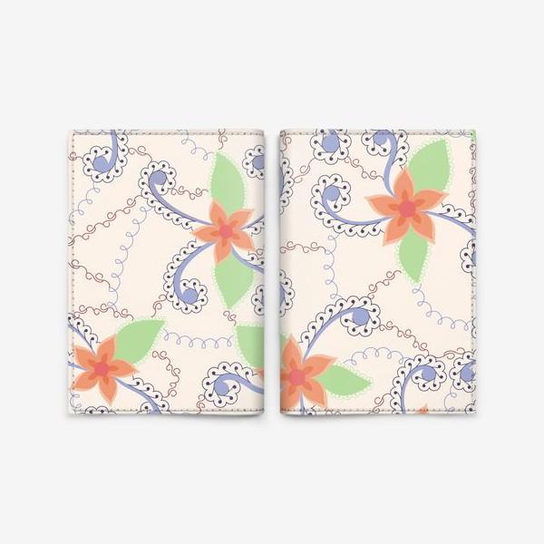 Обложка для паспорта «Абстрактные винтажные цветы»