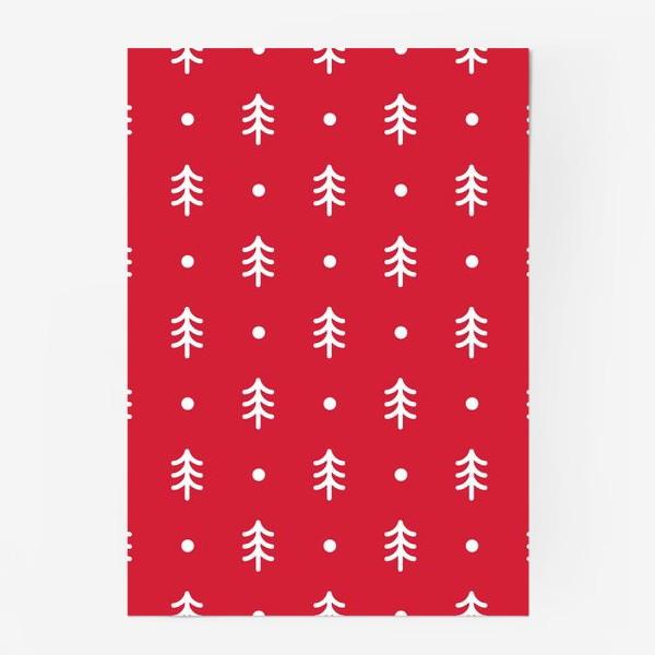 Постер «Новогодний паттерн с минималистичными ёлочками»