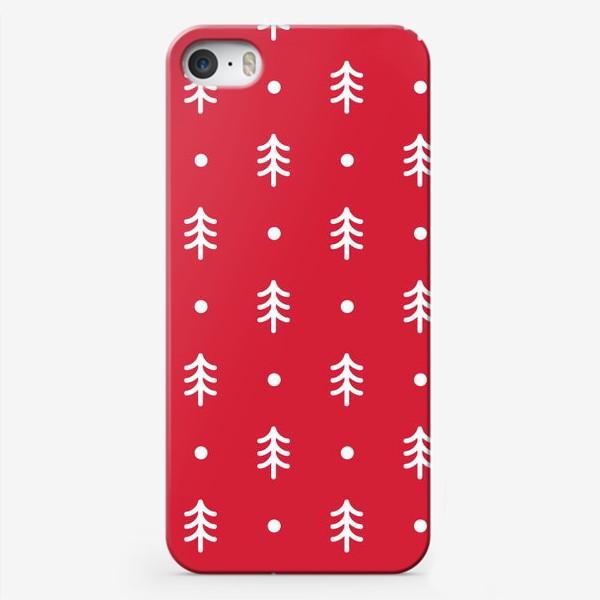 Чехол iPhone «Новогодний паттерн с минималистичными ёлочками»