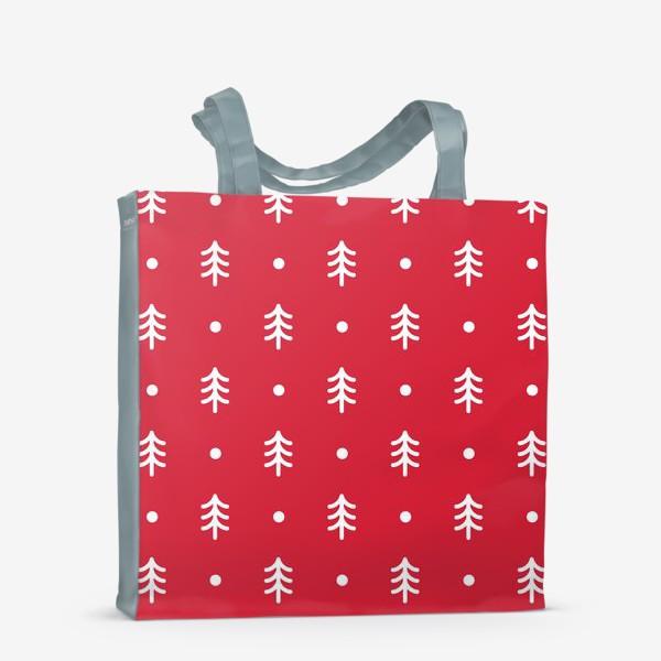 Сумка-шоппер «Новогодний паттерн с минималистичными ёлочками»