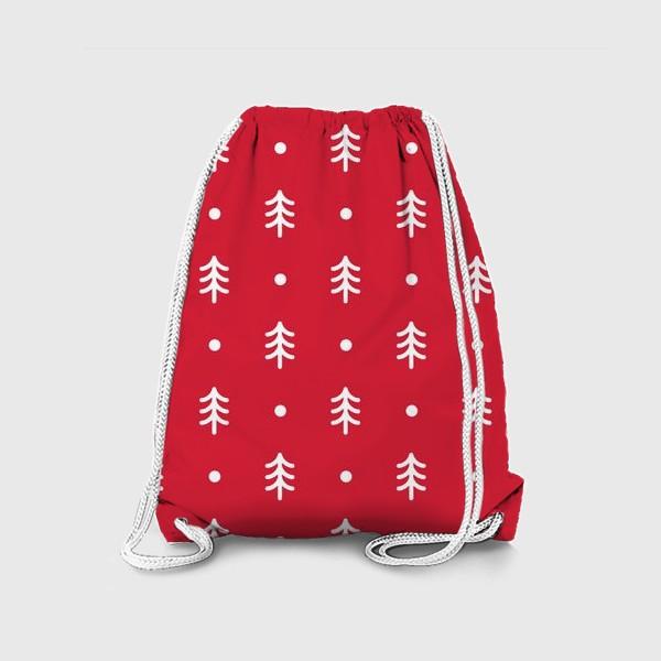 Рюкзак «Новогодний паттерн с минималистичными ёлочками»