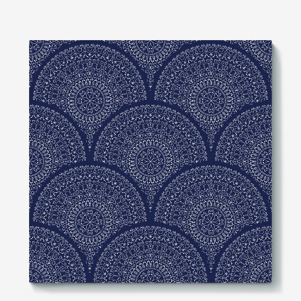 Холст «Синий узор с мандалами»