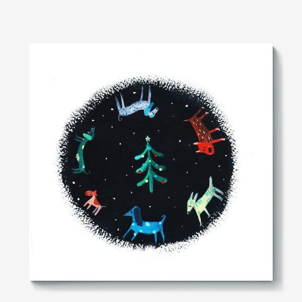 Холст «Собаки новогодние»