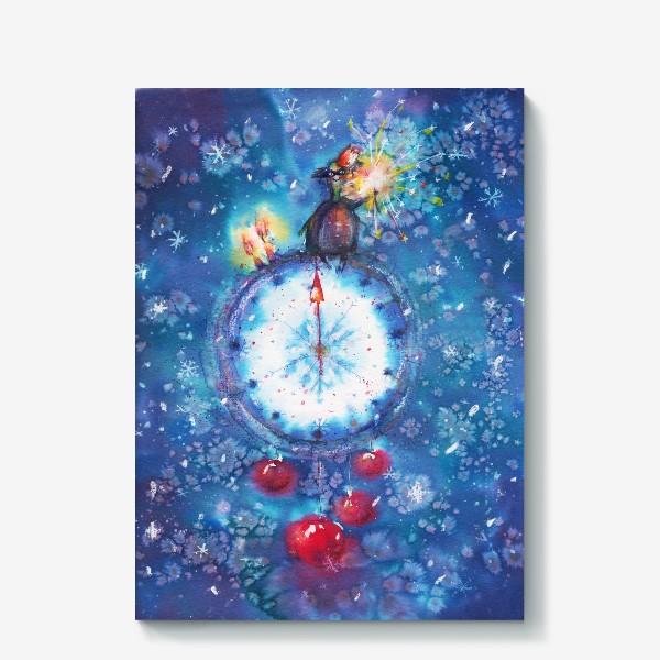 Холст «Новогодние часы»