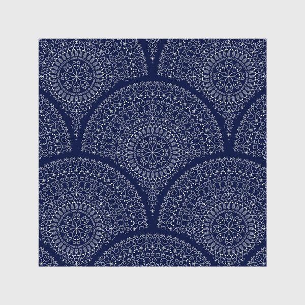 Шторы «Синий узор с мандалами»