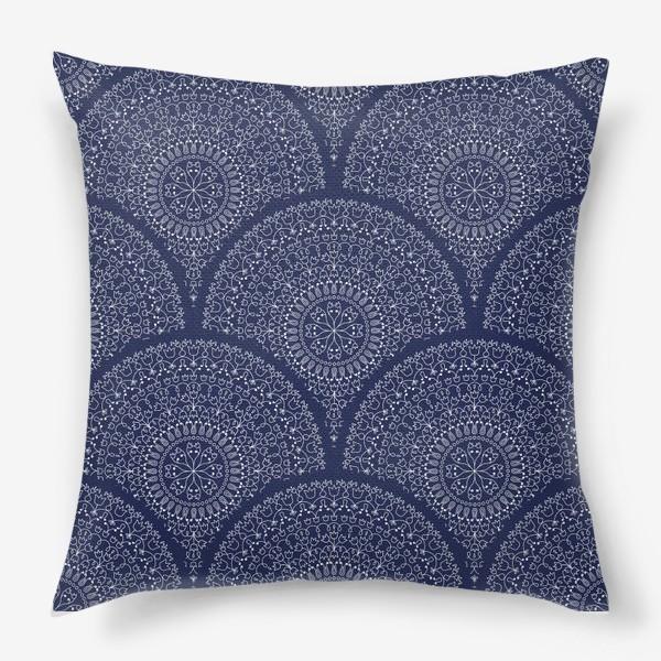 Подушка «Синий узор с мандалами»