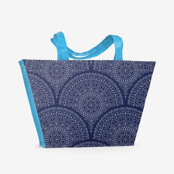 Пляжная сумка «Синий узор с мандалами»